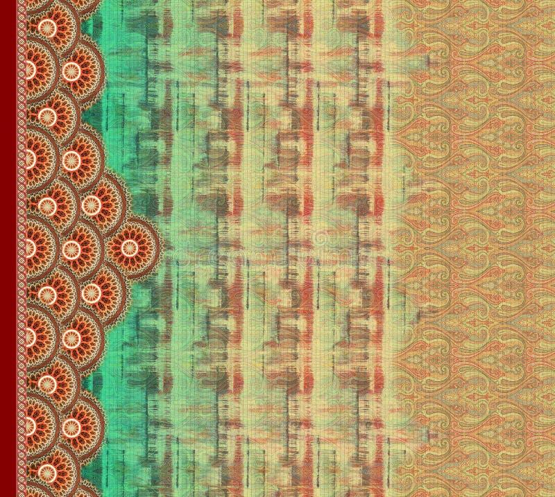 Illustration för tapet för digitalt motiv för design för dräktkurti färgrik främre royaltyfri illustrationer