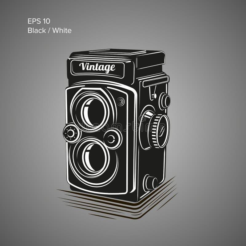 Illustration för tappningkameravektor Antik fotoutrustningsymbol vektor illustrationer