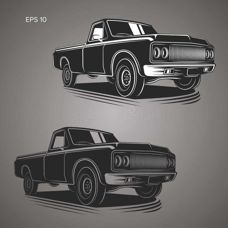 Illustration för tappningpickupvektor Oldschool amerikanbil stock illustrationer