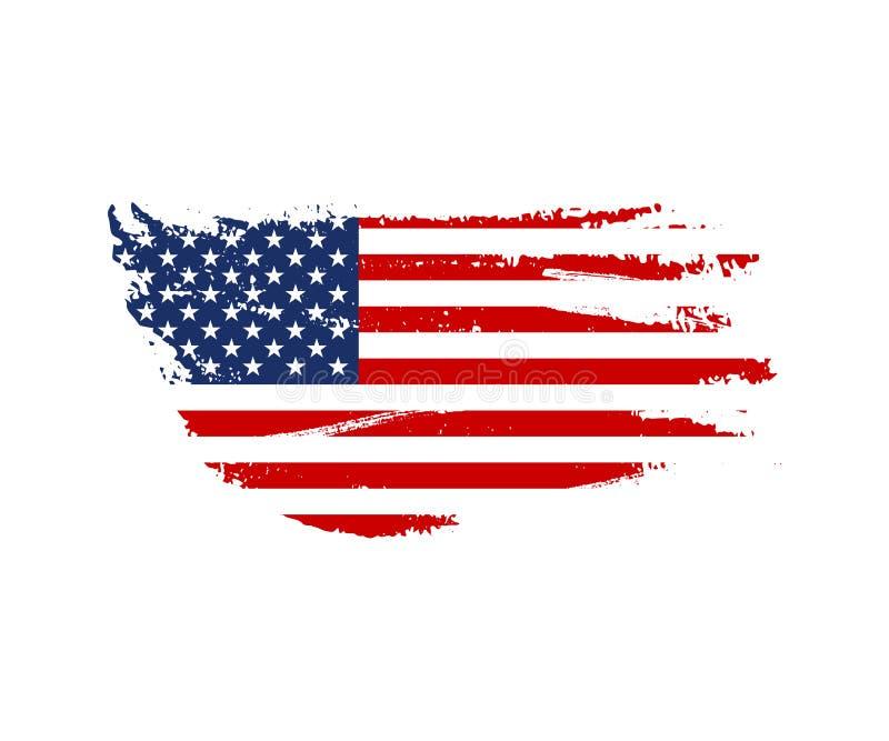 Illustration för tappningUSA flagga Vektoramerikanska flaggan på grungetextur royaltyfri illustrationer