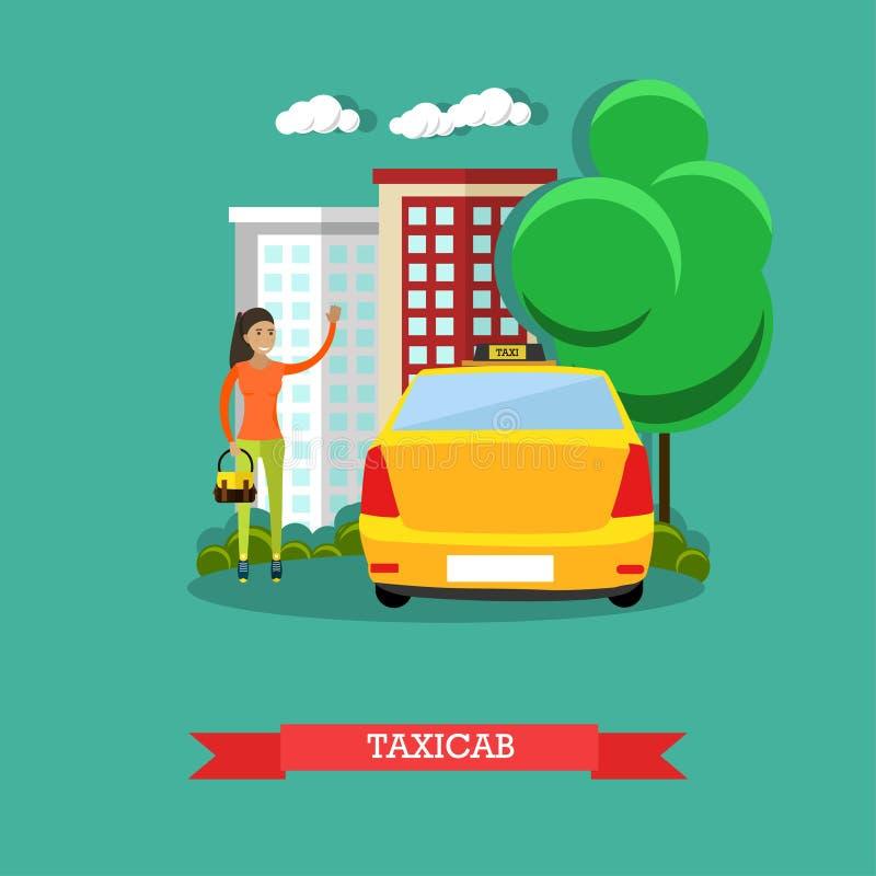 Illustration för taxibegreppsvektor, lägenhetdesign stock illustrationer