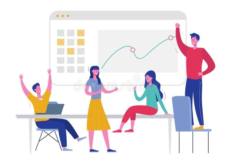 Illustration för Team Success vektorbegrepp Företagsledarefolk som firar seger Man och kvinna som segrar prestationbelöning stock illustrationer