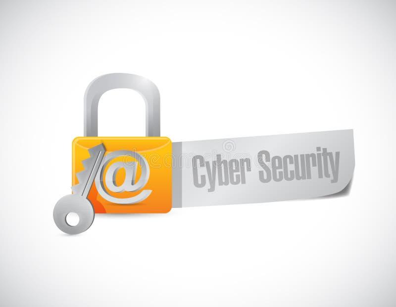 Illustration för tecken för Cybersäkerhetslås vektor illustrationer