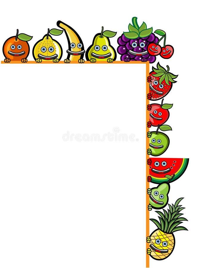 Illustration för tecknad film för fruktadvertizingetikett stock illustrationer