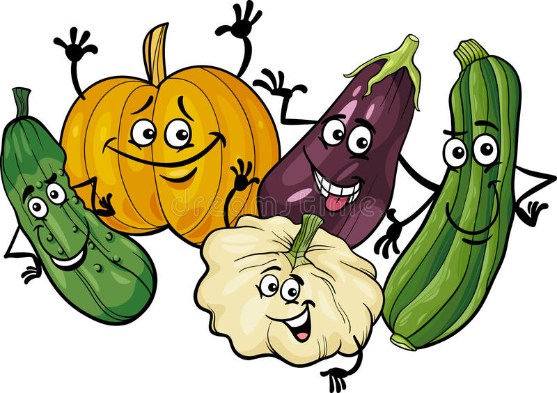 Illustration för tecknad film för grupp för Cucurbitgrönsaker vektor illustrationer