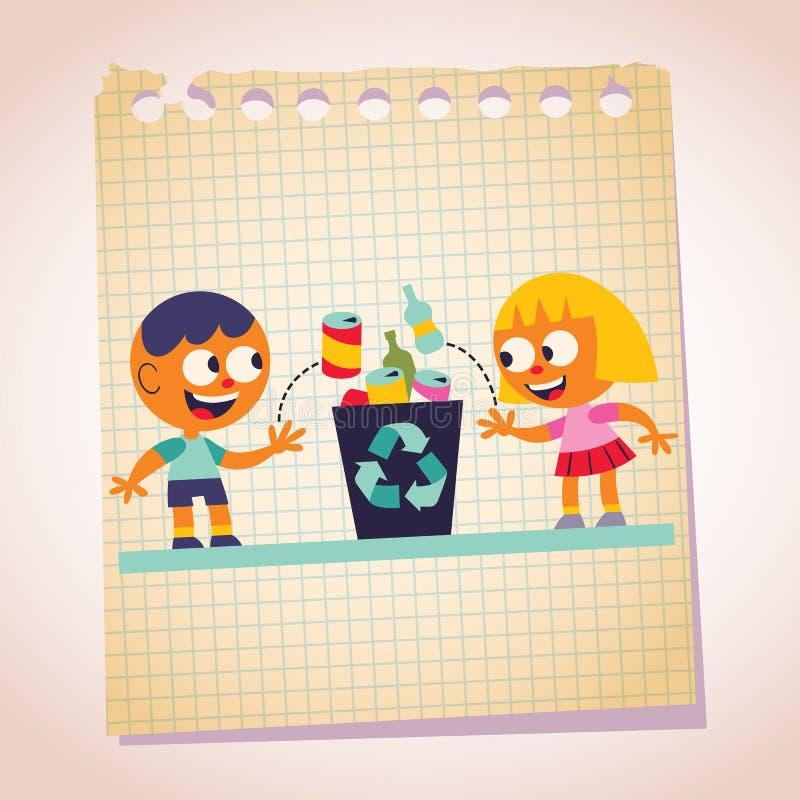 Illustration för tecknad film för papper för pojke- och flickaåtervinninganmärkning vektor illustrationer