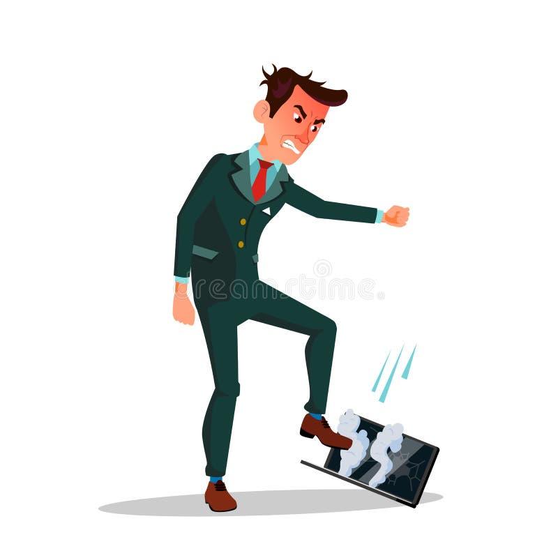 Illustration för tecknad film för ilsken affärsmanTreading His Laptop vektor plan royaltyfri illustrationer