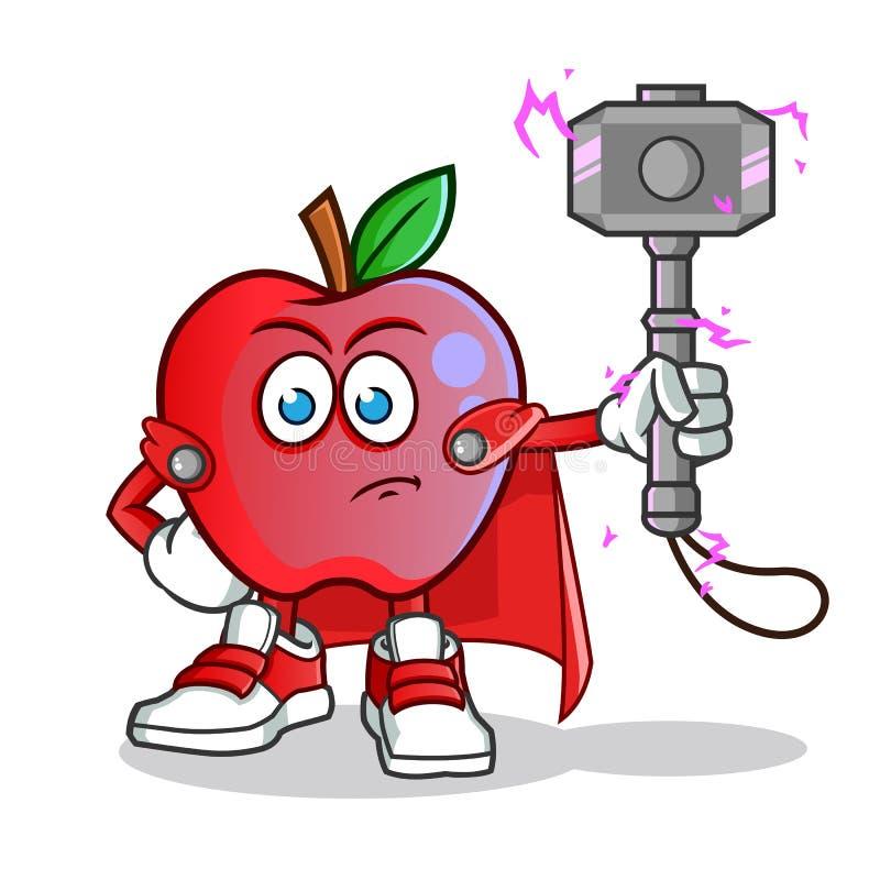 Illustration för tecknad film för vektor för maskot för Apple blixtgud ilsken royaltyfri illustrationer