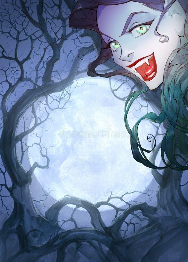Illustration för tecknad filmanimeallhelgonaafton av en härlig charmig vampyrkvinna med röda kanter stock illustrationer