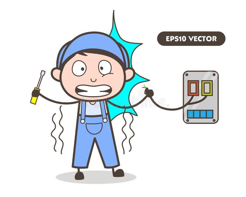 Illustration för tecknad filmelektrikerFelt Electric Shock vektor stock illustrationer