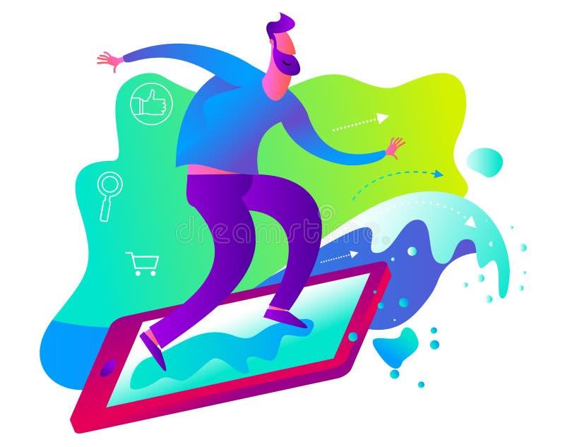 Illustration för tecknad filmtecken för rengöringsdukdesignen, presentation, infographic som landar sidan: DET internet, netto su royaltyfri illustrationer