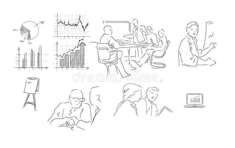 Illustration för teckning för hand för affärsmöte stock illustrationer