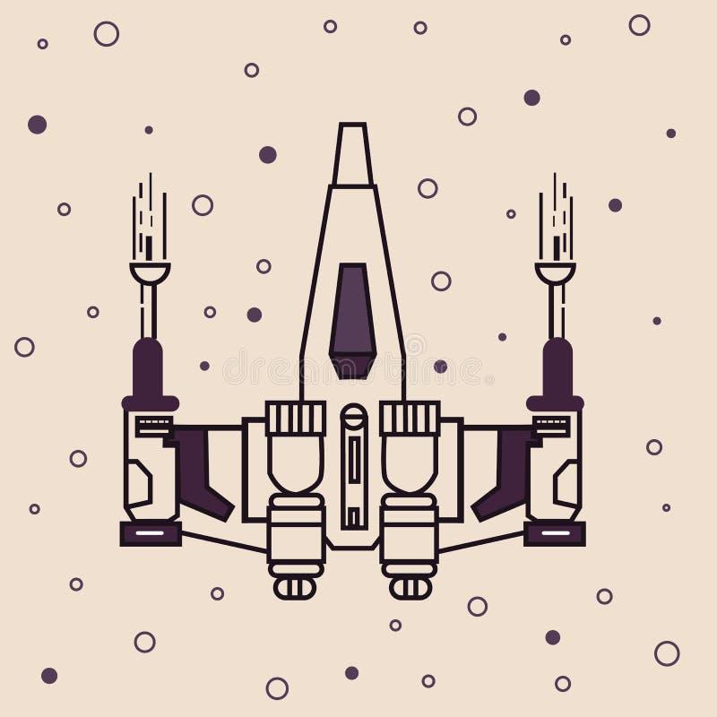 Illustration för teckning för symbol för utrymmehantverkjaktflygplan futuristisk royaltyfri illustrationer