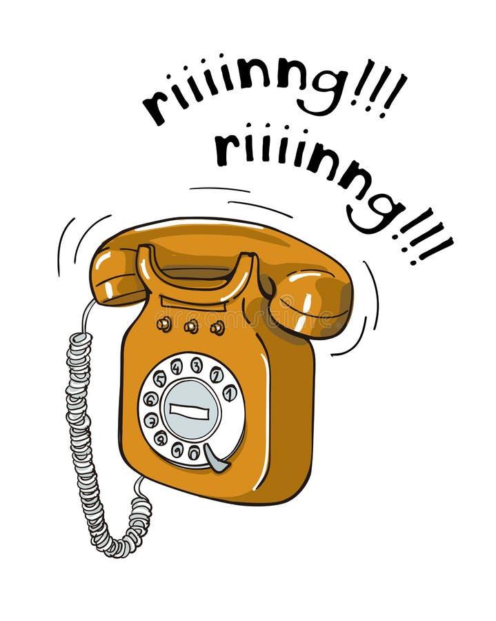 Illustration för telefon för tappning orange dragen hand royaltyfri illustrationer