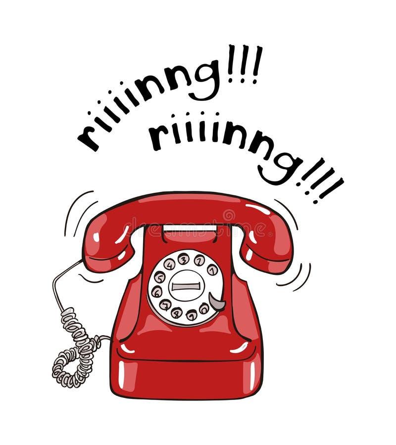 Illustration för telefon för tappning röd dragen hand royaltyfri illustrationer