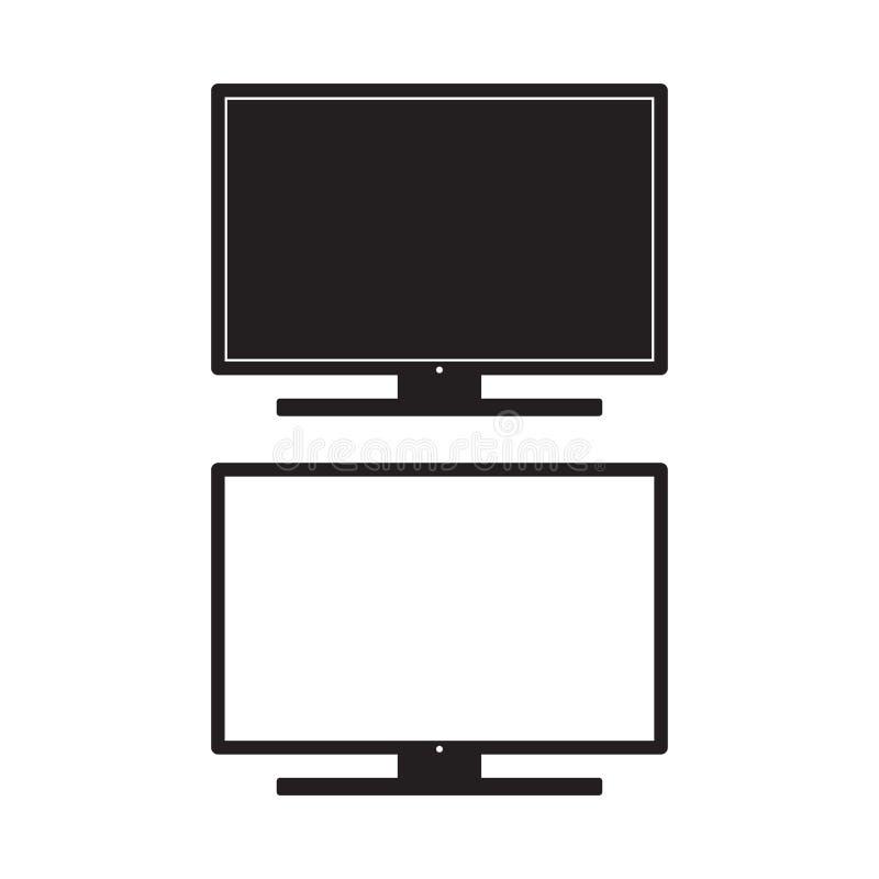 Illustration för televisionsymbolsvektor Tecken för bildskärmTVlägenhet bakgrund isolerad white vektor illustrationer