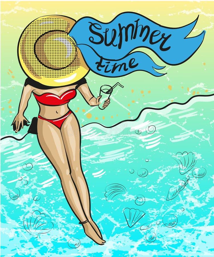 Illustration för tid för sommar för konst för vektortappningpop vektor illustrationer