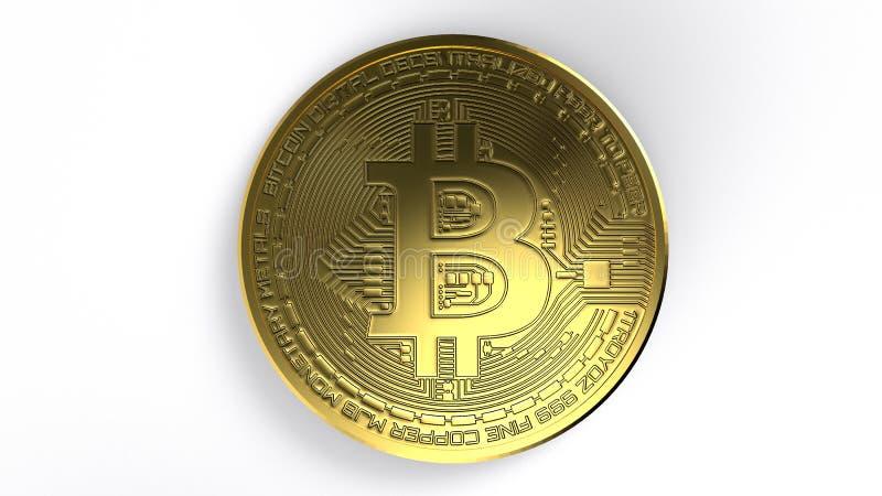 Illustration för tolkning för Bitcoin guld- mynt 3D Digital valuta vektor illustrationer