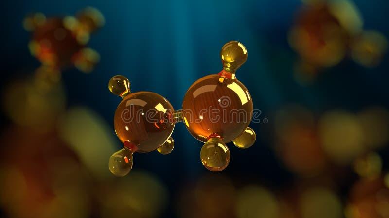 illustration för tolkning 3d av den glass molekylmodellen Molekyl av olja Begrepp av olja eller gas för strukturmodell motorisk royaltyfri illustrationer