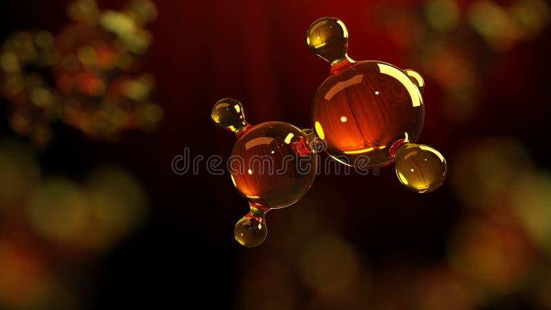 illustration för tolkning 3d av den glass molekylmodellen Molekyl av olja Begrepp av olja eller gas för strukturmodell motorisk vektor illustrationer