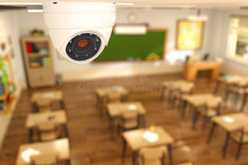 illustration för tolkning 3D av säkerhetskameran i klassrum på skola royaltyfri illustrationer