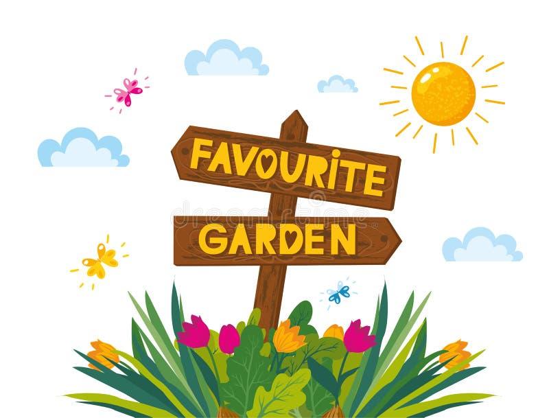 Illustration för trädgård för begreppsdesign favorit- med träpilen och olika växter, blommor Märka vårsäsong stock illustrationer