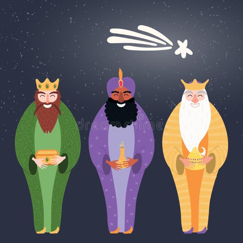 Illustration för tre konungar royaltyfri illustrationer