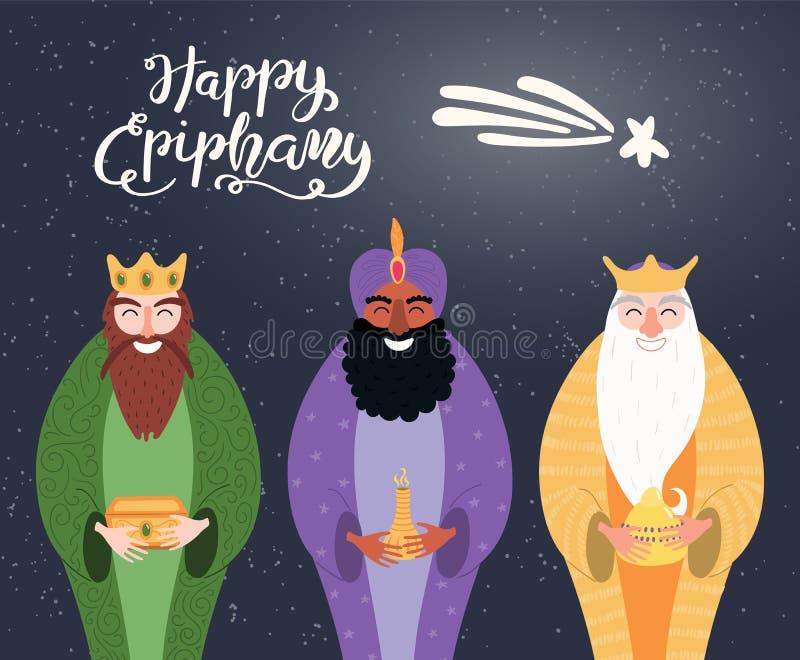 Illustration för tre konungar, Epiphanycitationstecken royaltyfri illustrationer