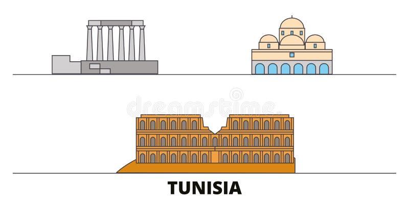 Illustration för Tunisien plan gränsmärkevektor Tunisien linje stad med berömda loppsikt, horisont, design vektor illustrationer