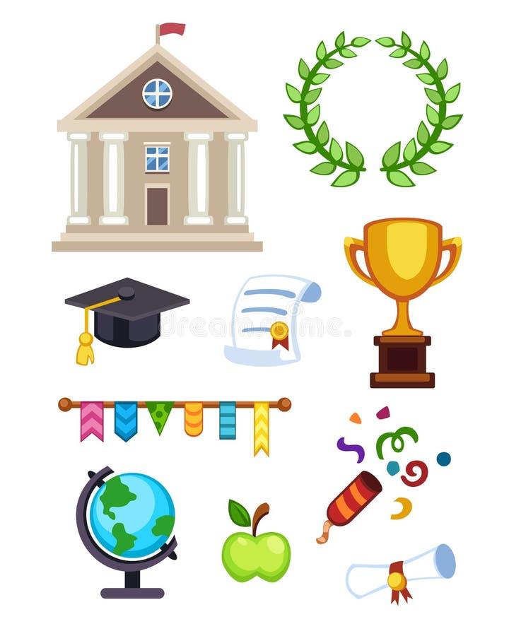 Illustration för universitetbyggnadsvektor Elementära höga isolerade högskolasymboler för plan skolutbildning avläggande av exame royaltyfri illustrationer