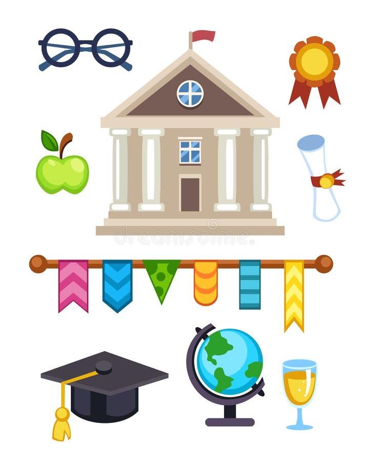 Illustration för universitetbyggnadsvektor Elementära höga isolerade högskolasymboler för plan skolutbildning avläggande av exame stock illustrationer