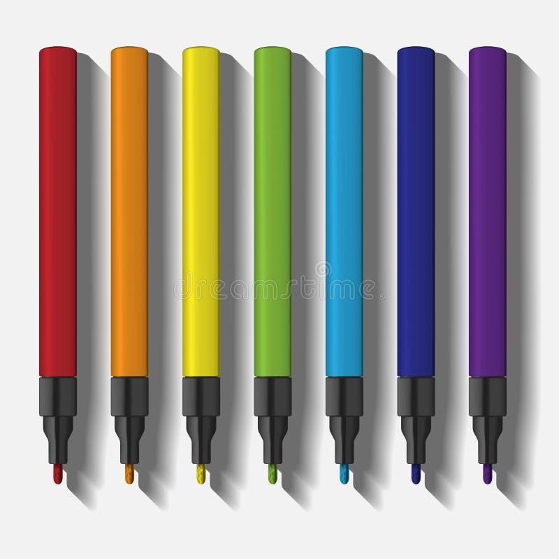 Illustration för uppsättning för målarfärgmarkörpenna mall av markörpennor i regnbågefärger stock illustrationer