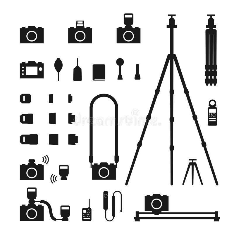 Illustration för uppsättning för symbol för fotografhjälpmedelkontur stock illustrationer