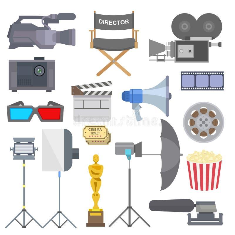 Illustration för uppsättning för vektor för symboler för symboler för utrustning för hjälpmedel för TV-program för biofilmdanande stock illustrationer