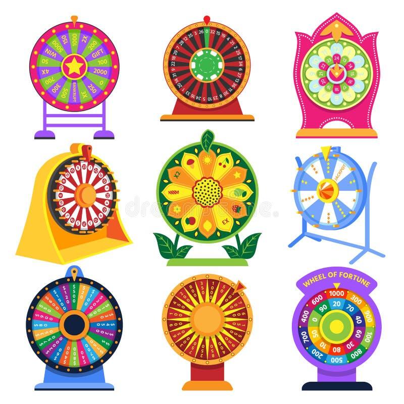 Illustration för uppsättning för kasino för lotteri för roulett för symboler för lek för snurrande för förmögenhethjulvektor som  vektor illustrationer