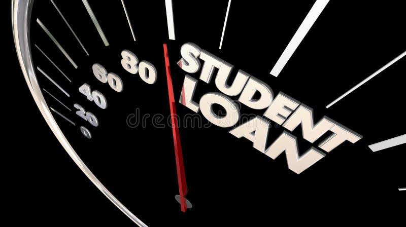 Illustration för utbildning 3d för studentLoan Debt Borrowed pengar stock illustrationer