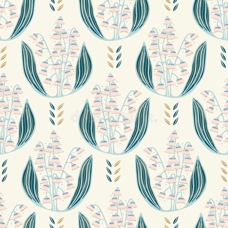 Illustration för utdragen liljekonvalj för hand blom- damast seamless vektor för modell stock illustrationer