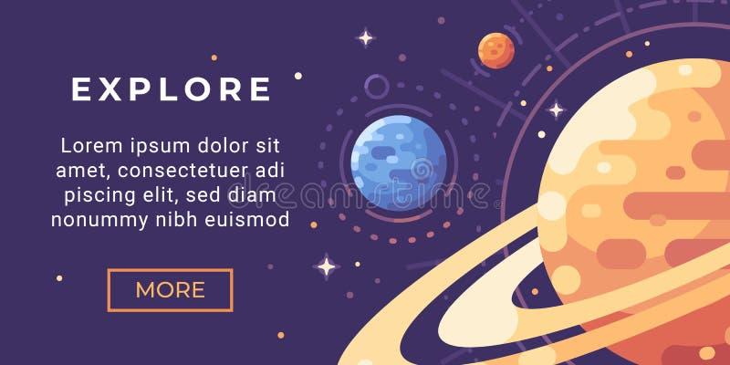Illustration för utforskning av rymdenbanerlägenhet Astronomibaner med planeter royaltyfri illustrationer
