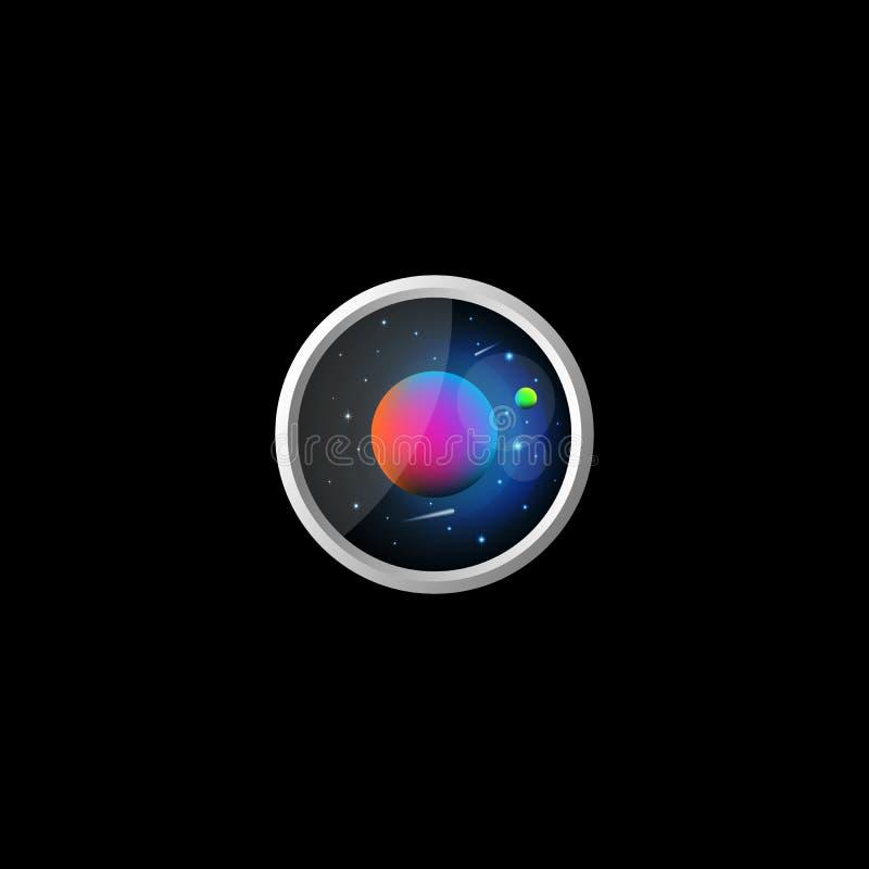 Illustration f?r utrymmelandskapsymbol av en futuristisk exoplanet med en satellit- stj?rnahimmelbakgrund med flygkomet, kosmoslo vektor illustrationer