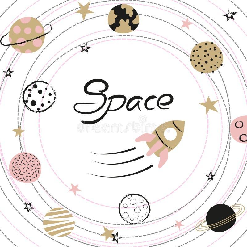 Illustration för utrymmevektor med planeter och raket för hand utdragna för ungar vektor illustrationer