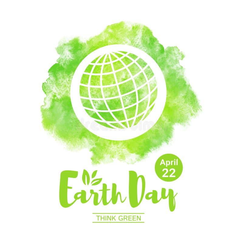 Illustration för världsjorddag med jordklotet och bokstäver vektor illustrationer