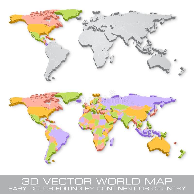 Illustration för världskarta för hög vektor för detalj kulör politisk vektor illustrationer