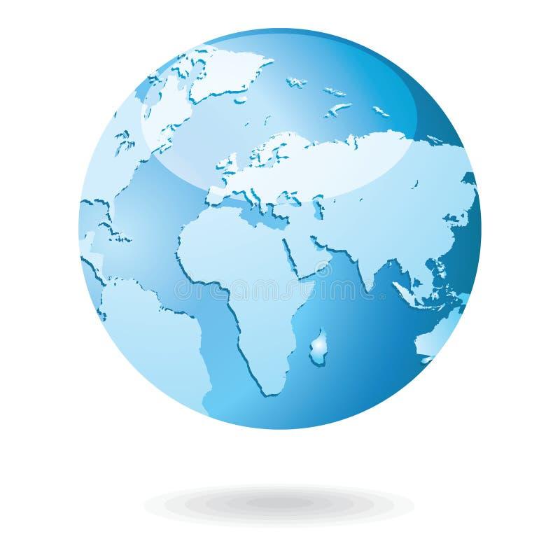 Illustration för världskarta- och jordklotdetaljvektor stock illustrationer