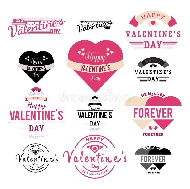 Illustration för valentindagetikett och bandsamlings- vektor stock illustrationer