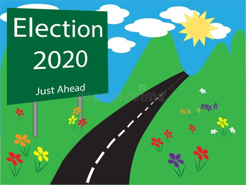 Illustration 2020 för valvägrentecken stock illustrationer