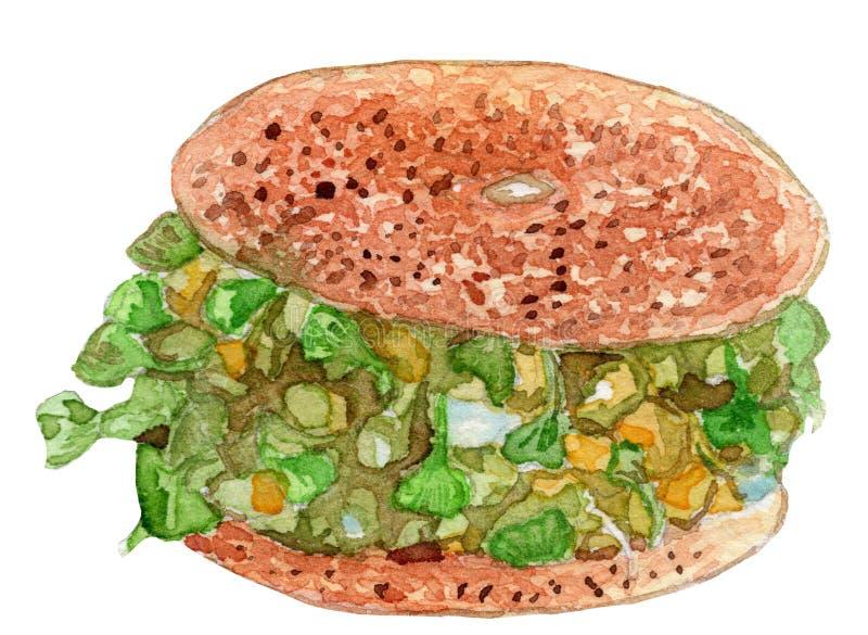 Illustration 2 för vattenfärg för avokadobagelsmörgås arkivfoton