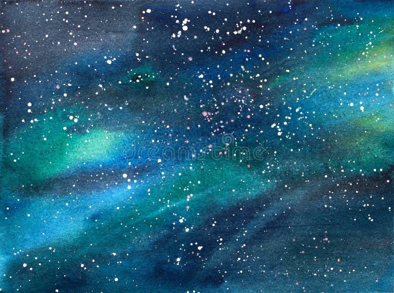 Illustration för vattenfärg för galaxuniversumkosmos fotografering för bildbyråer