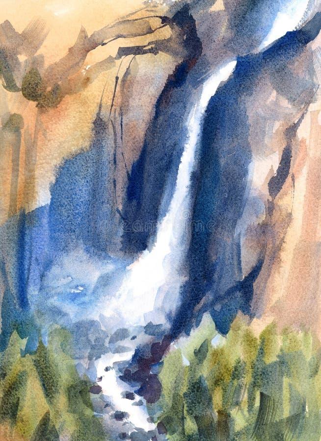 Illustration för vattenfärg för vattenfallYosemite Falls landskap målad hand royaltyfri illustrationer