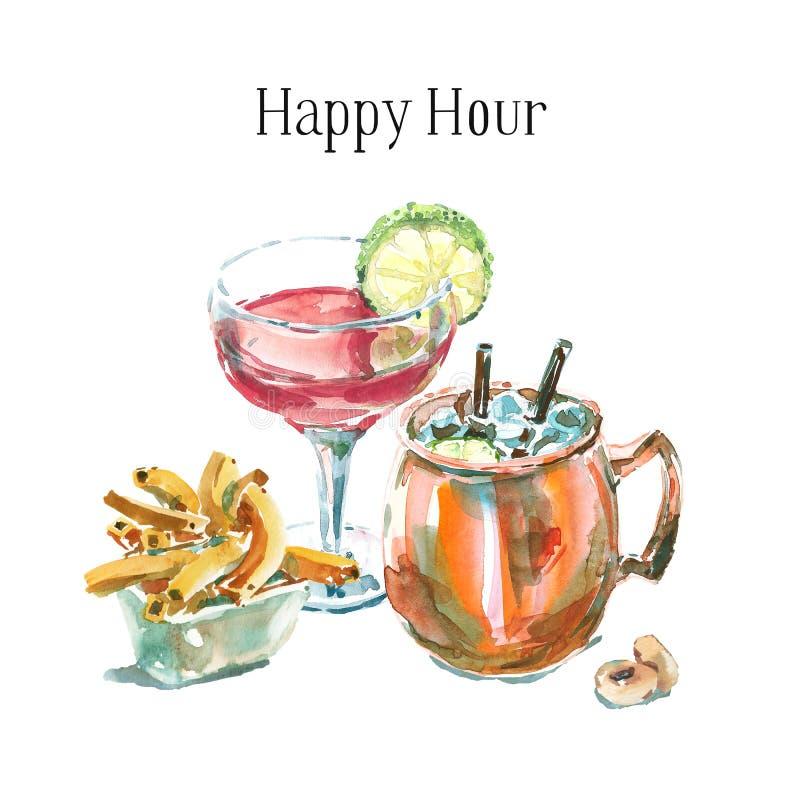 Illustration för vattenfärg för hand för lycklig timme dragen med två coctailar och aptitretare Nya coctailar som garneras med li royaltyfri illustrationer