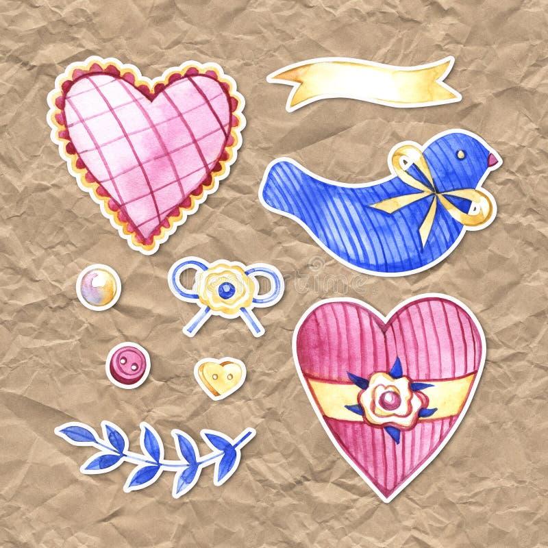 Illustration för vattenfärg för handteckningsboho sjaskig chic Bohemisk grönskakonst i tappningstil beståndsdelar för royaltyfri illustrationer